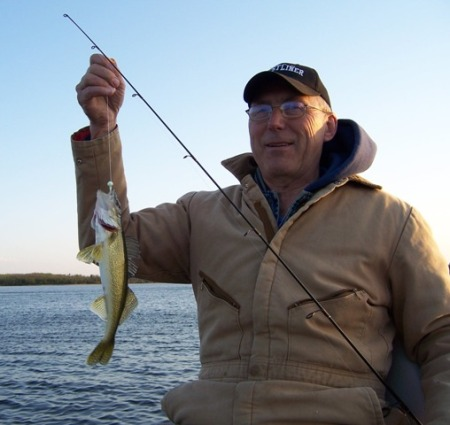 Charlie with a Blackduck walleye