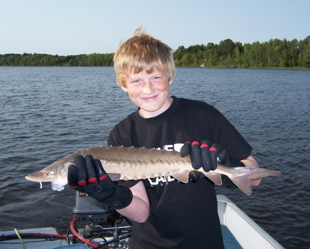 Cameron with his 28 inch sturgeon